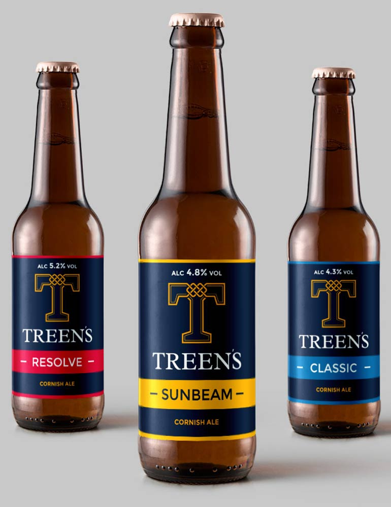 Treen's Brewery Logo Design on Beer Labels