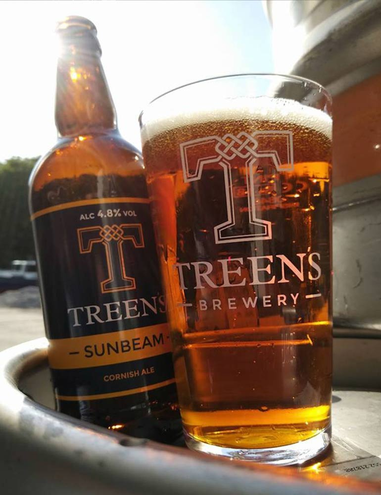 Treen's Brewery Print Design on Bottle and Glass