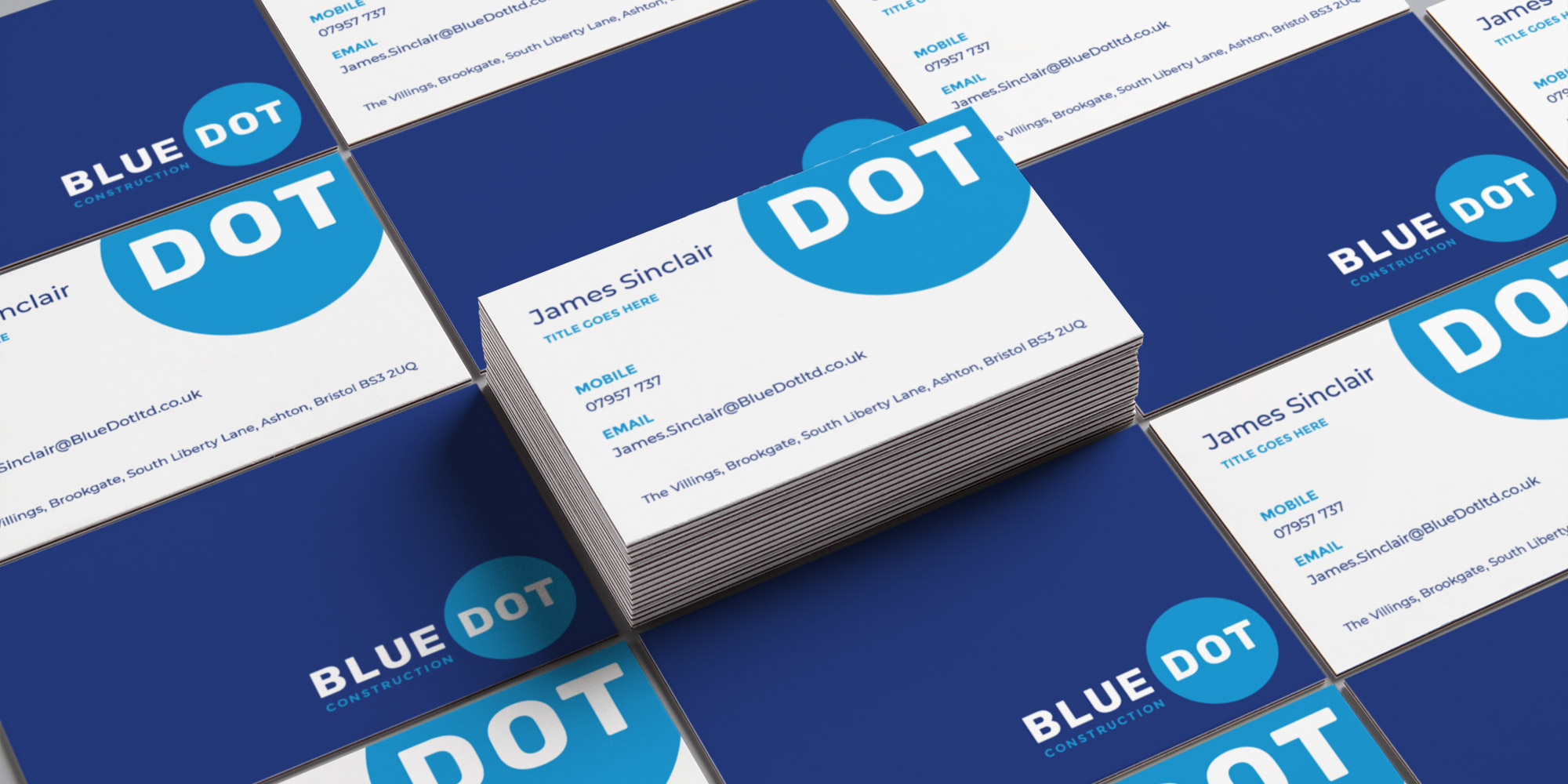Blue Dot Construction Logo Design on Business Cards
