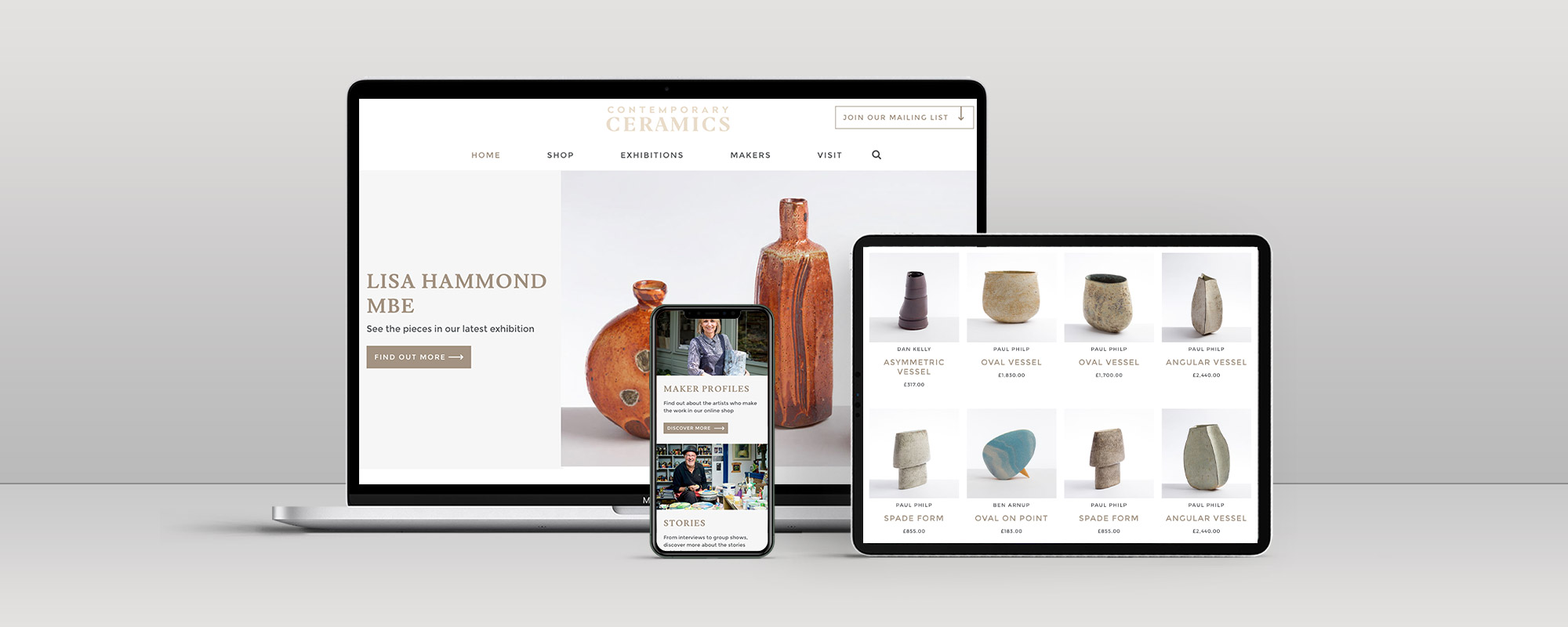 Contemporary Ceramics Ecommerce Website Design on 3 Devices
