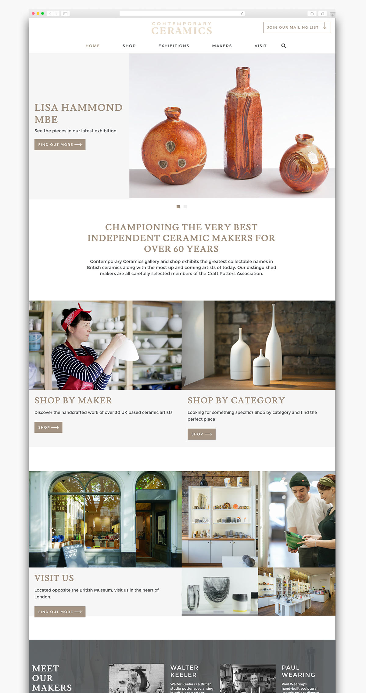 Contemporary Ceramics Ecommerce Website Homepage Design
