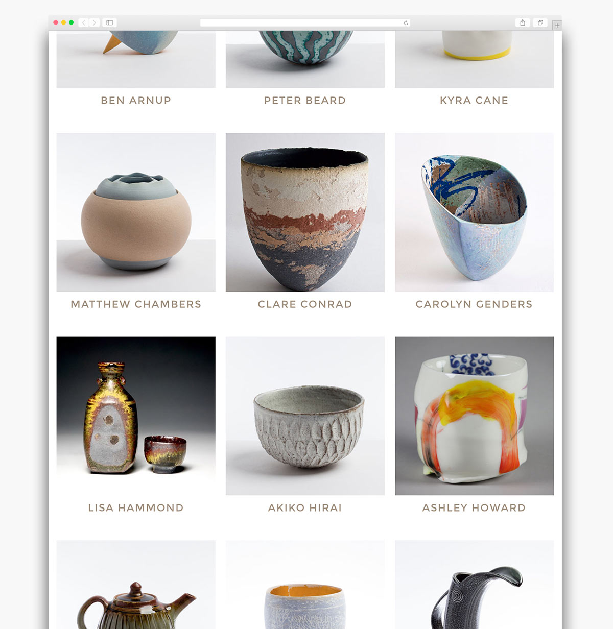 Contemporary Ceramics Ecommerce Website Page Design