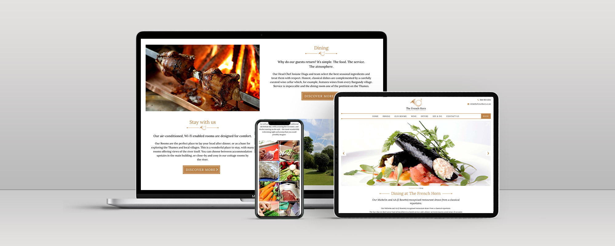 The French Horn Wordpress Website Design on 3 Devices