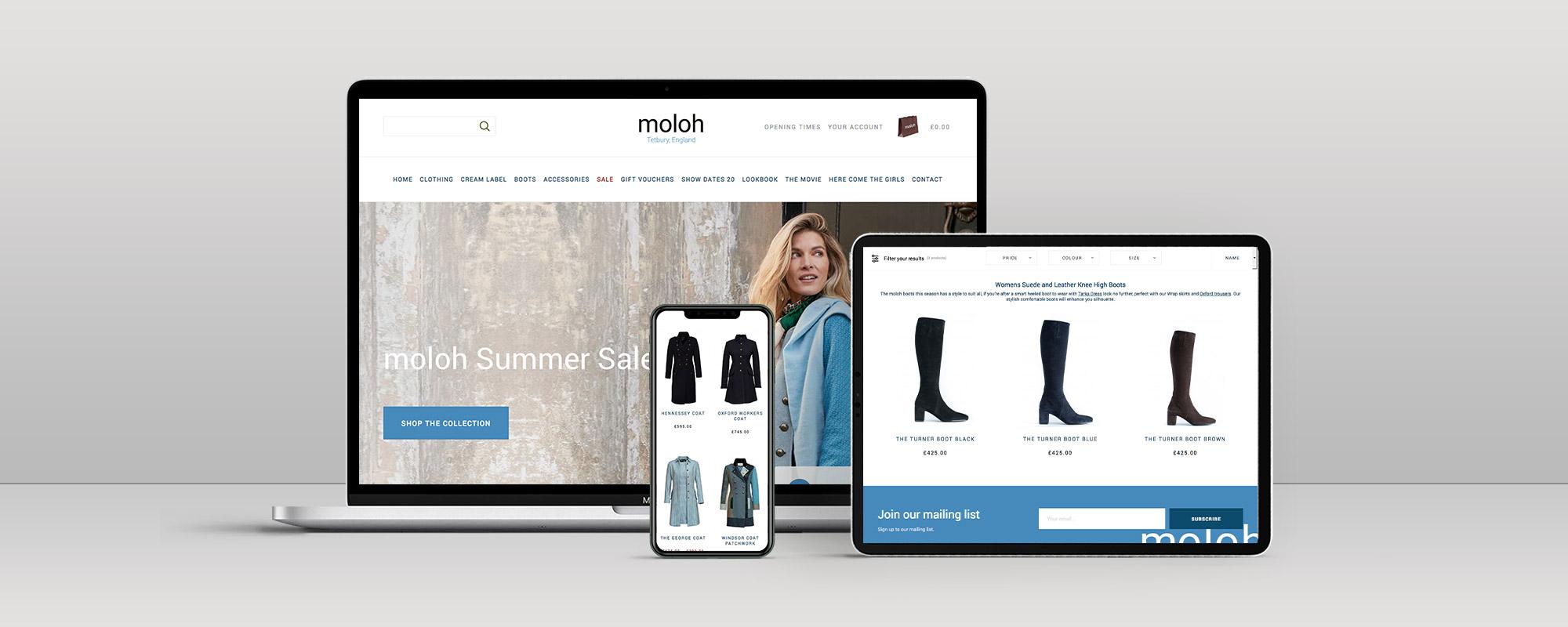 Moloh Magento Website Design on 3 Devices