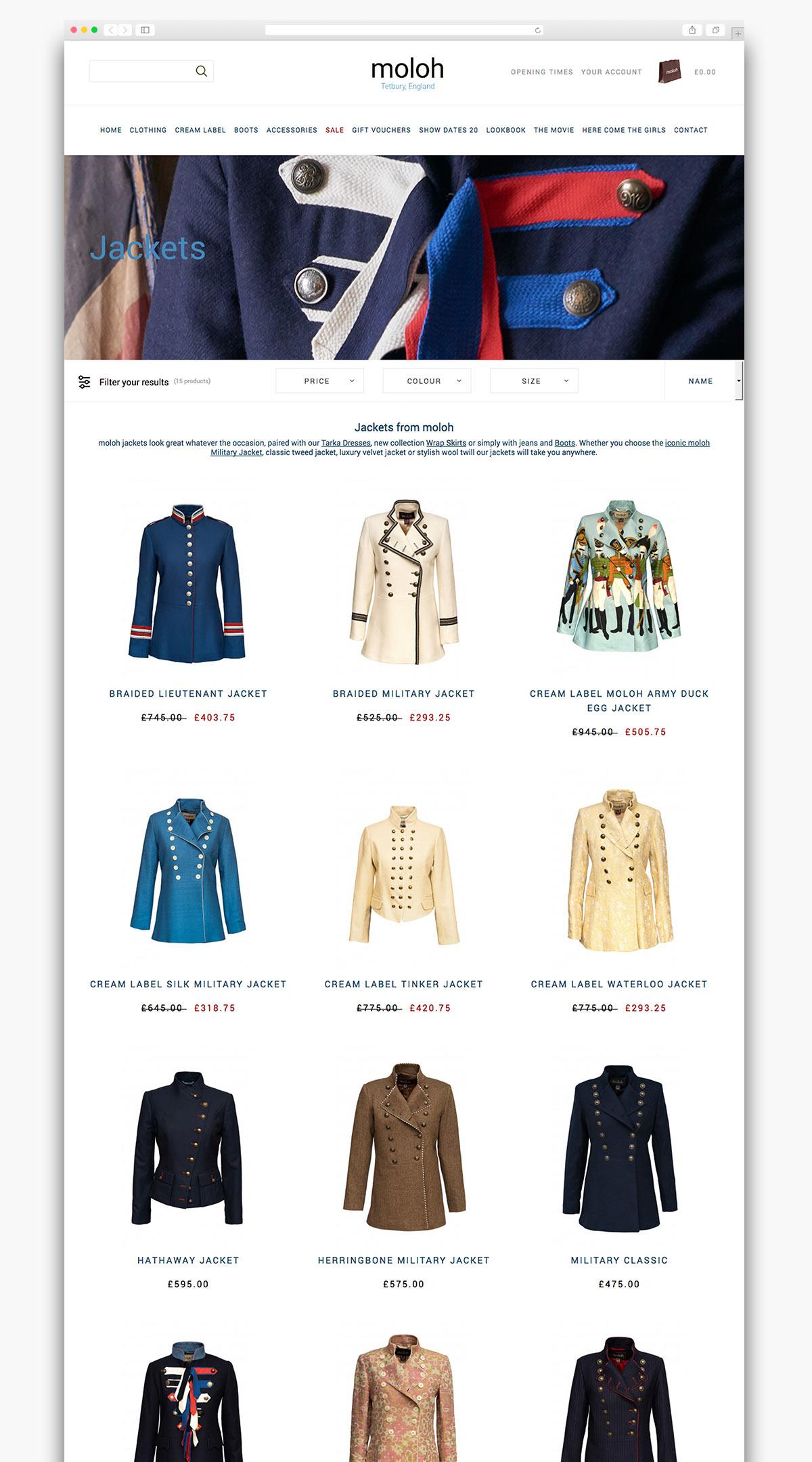 Moloh Magento Website Page Design