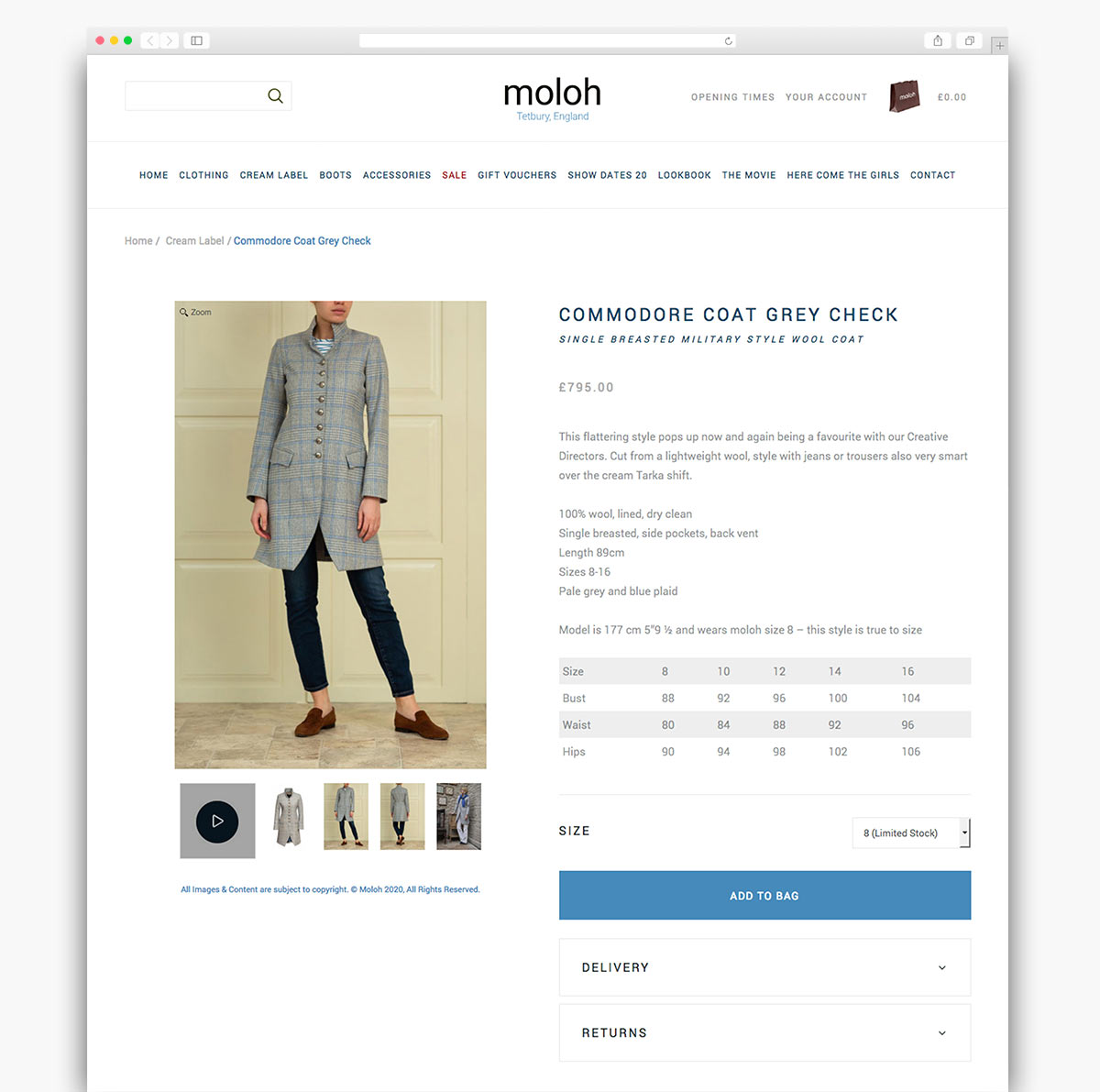 Moloh Magento Website Product Page Design