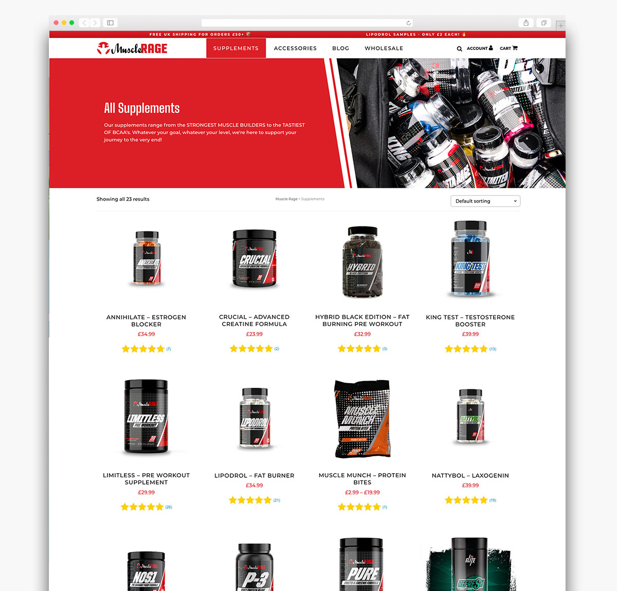 Muscle Rage Ecommerce Website Page Design