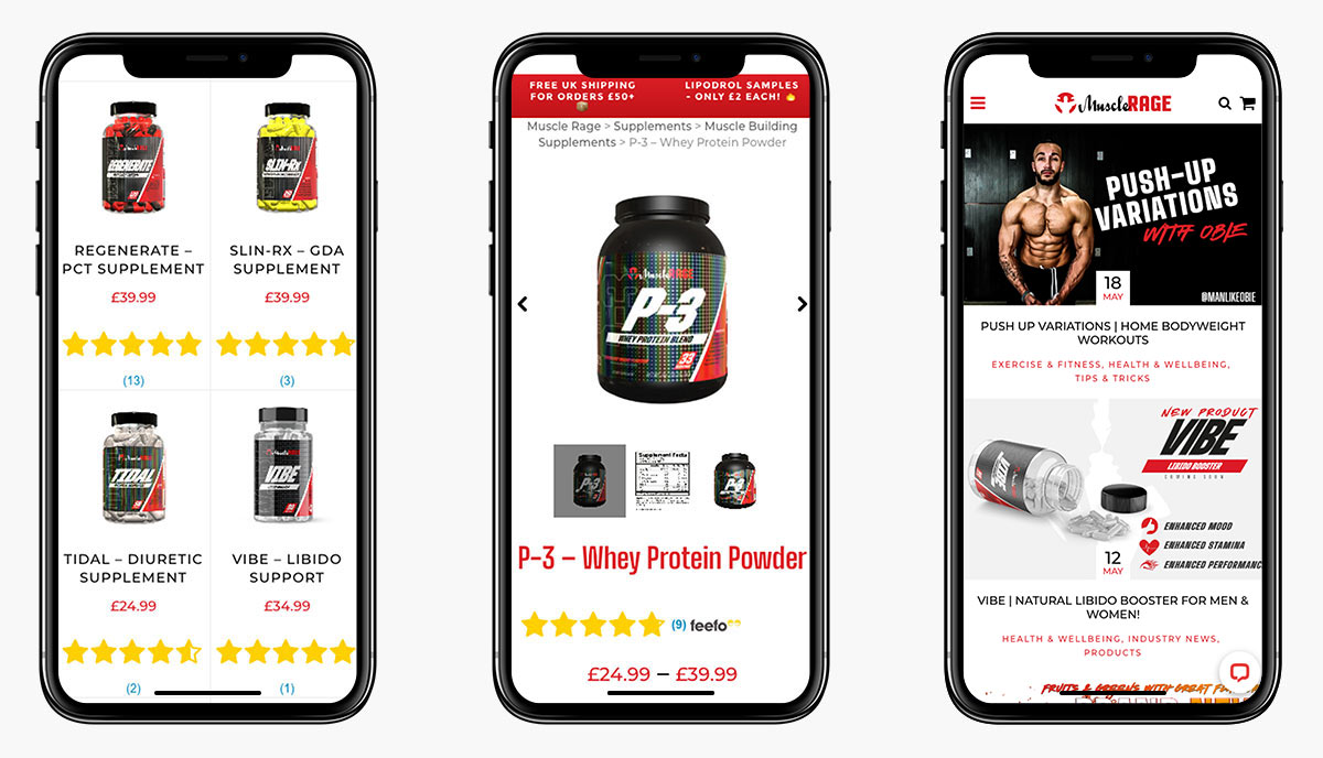 Muscle Rage Ecommerce Website Design on Mobile Devices