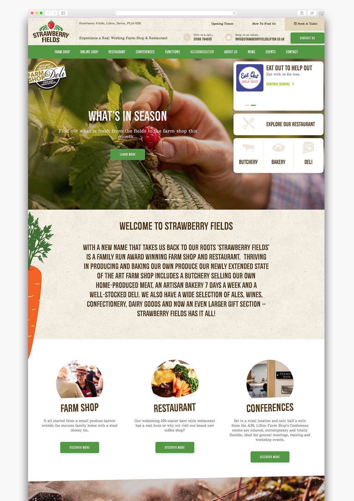 Strawberry Fields Wordpress Website Homepage Design