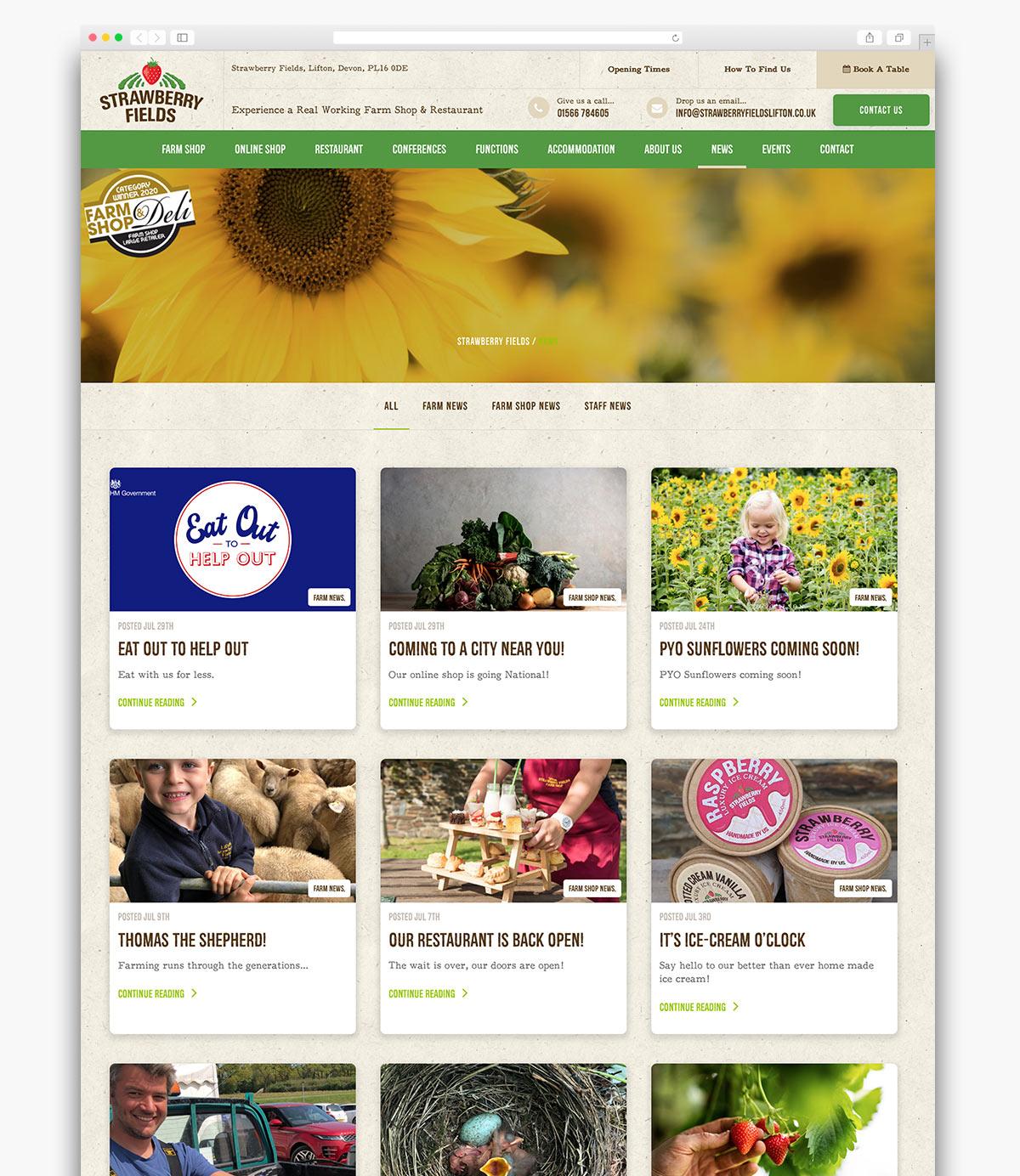 Strawberry Fields Wordpress Website Page Design
