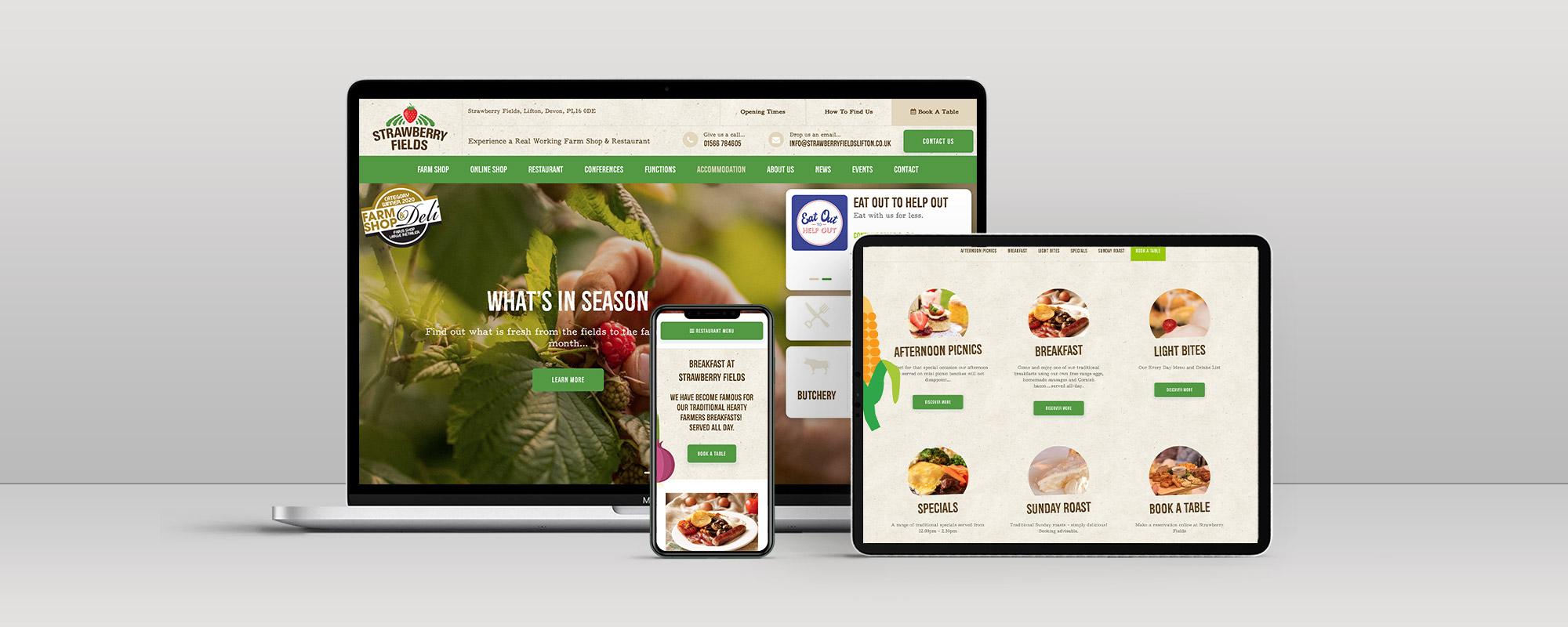 Strawberry Fields Wordpress Website Design on 3 Devices