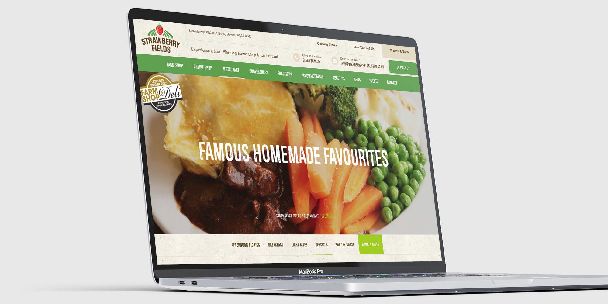 Strawberry Fields Wordpress Website Design on Laptop