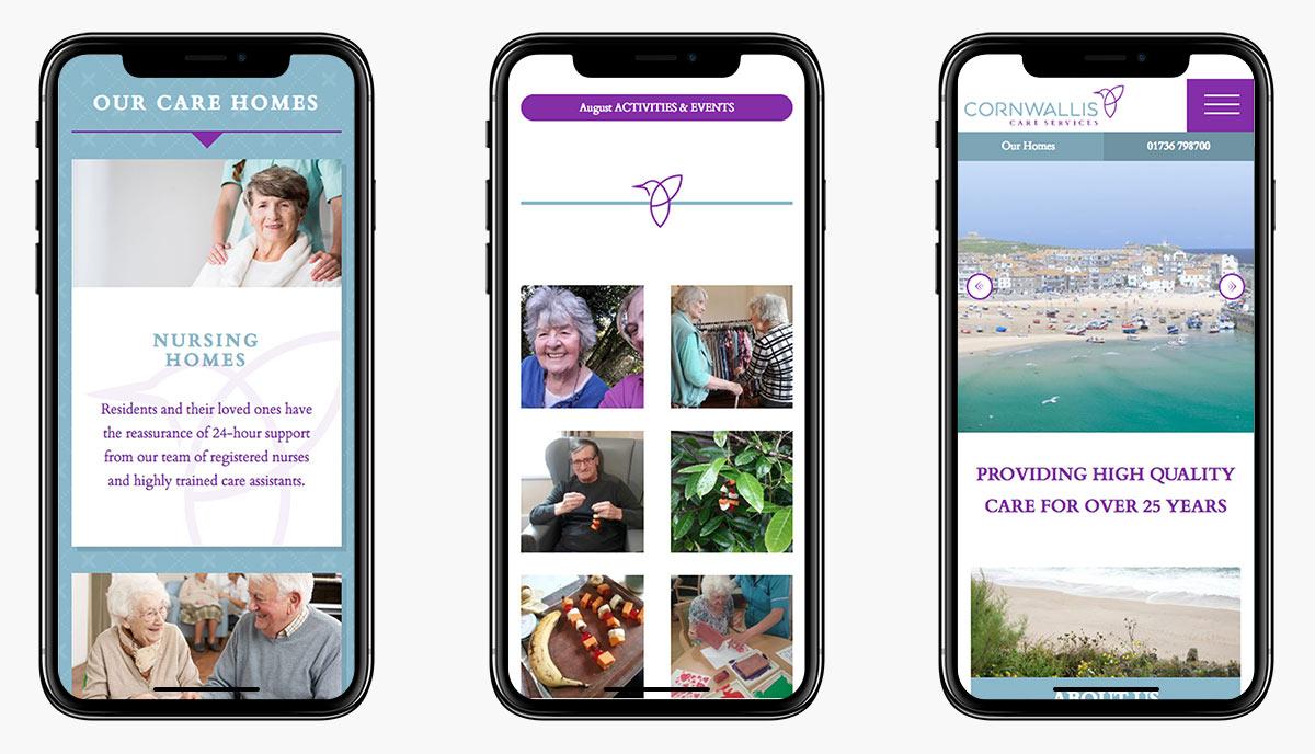 Cornwallis Care Website Design on Mobiles
