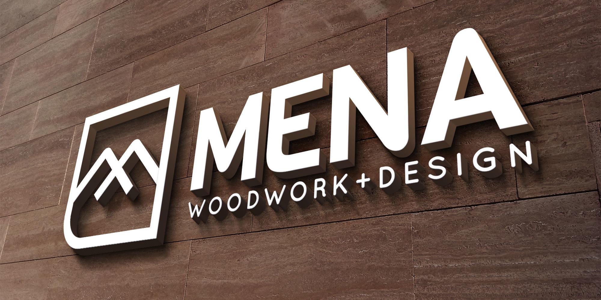 Mena Woodwork Logo Design on Sign