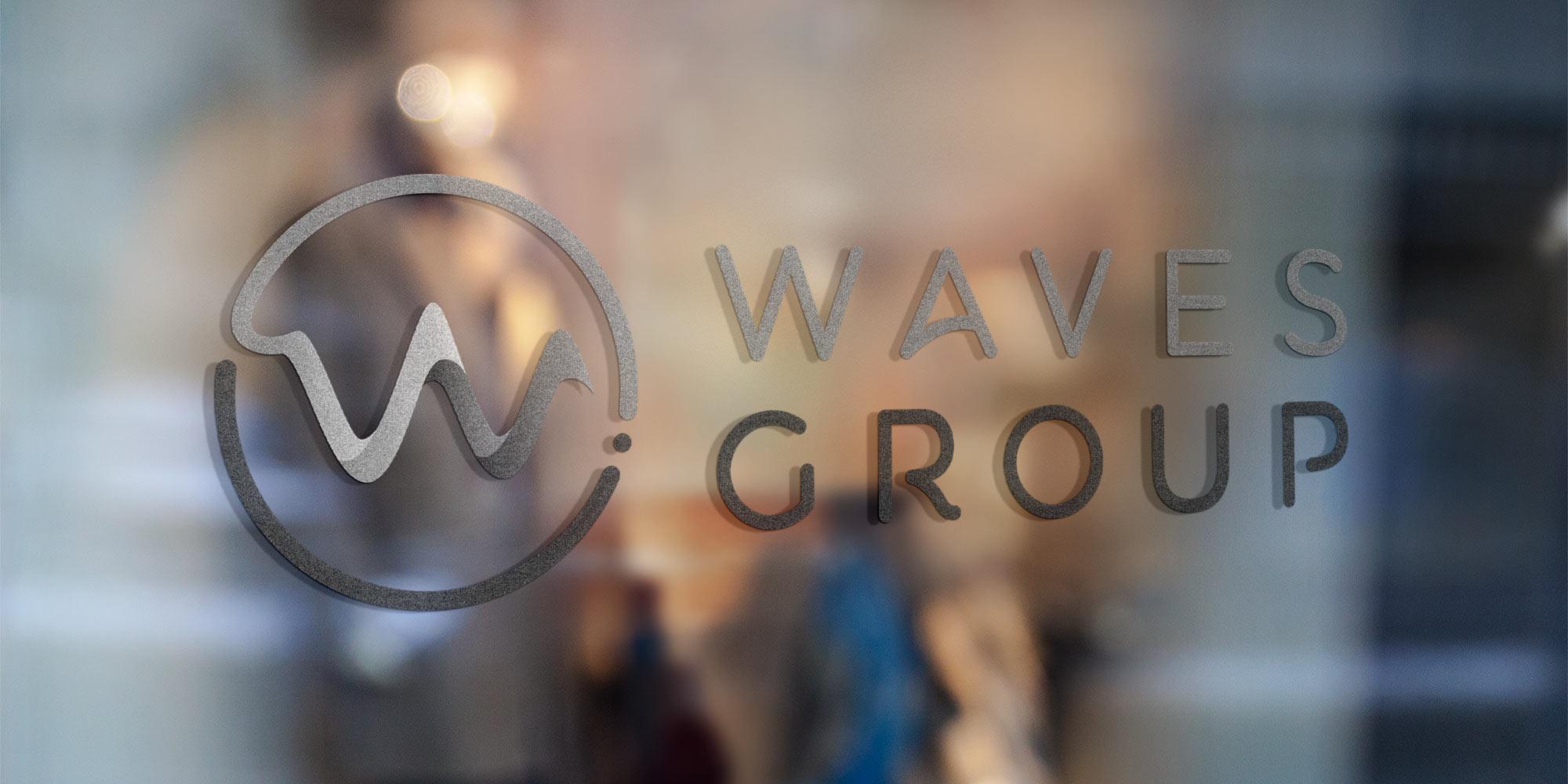 Waves Group Logo Design on Glass