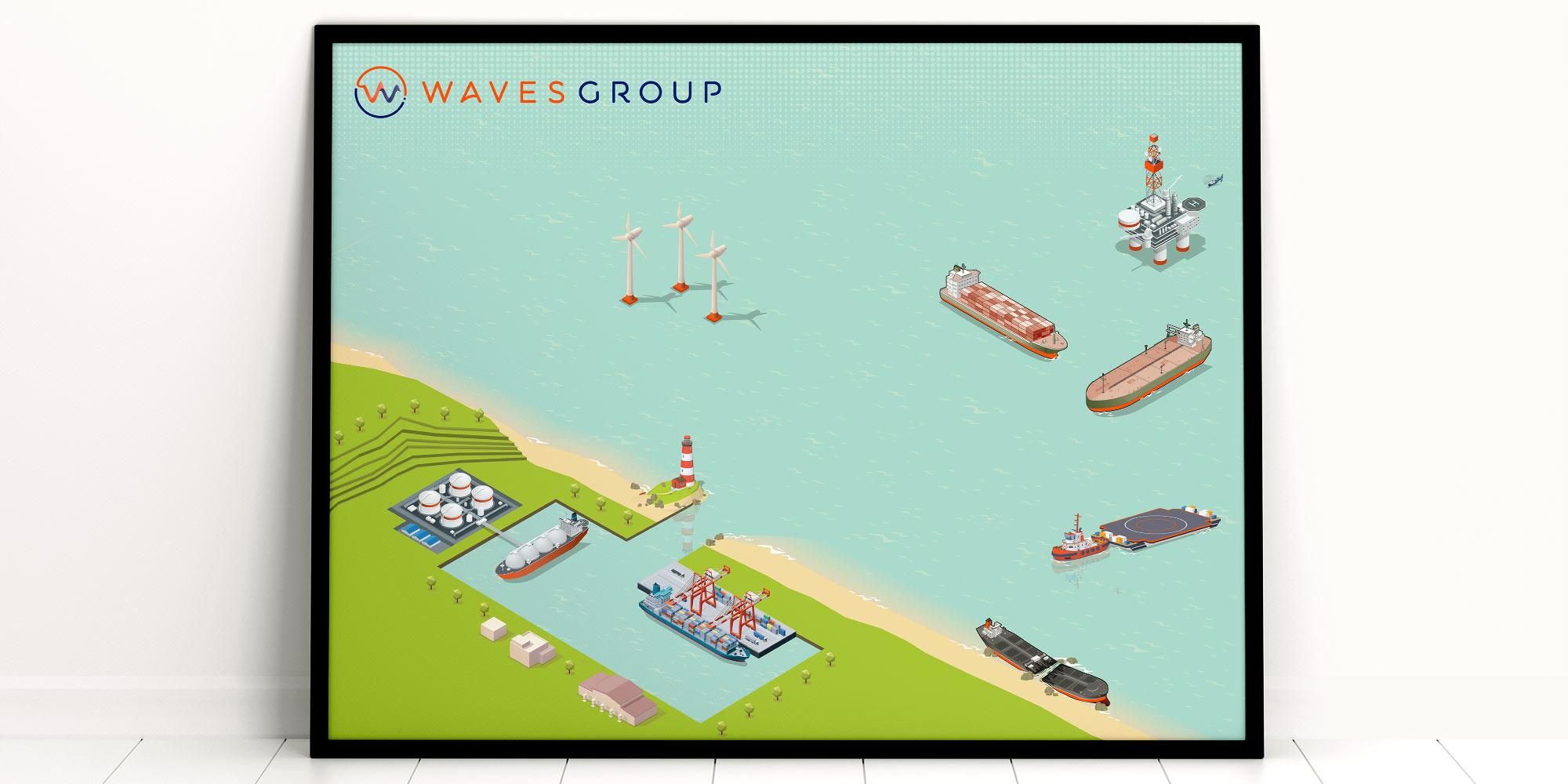 Waves Group Print Design