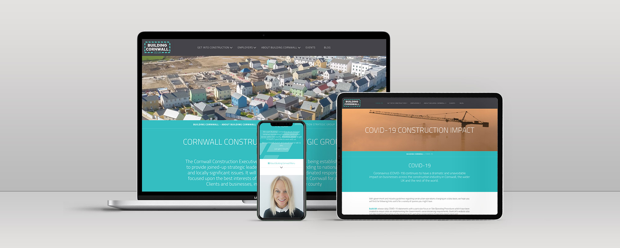 Building Cornwall Wordpress Website Design on 3 Devices