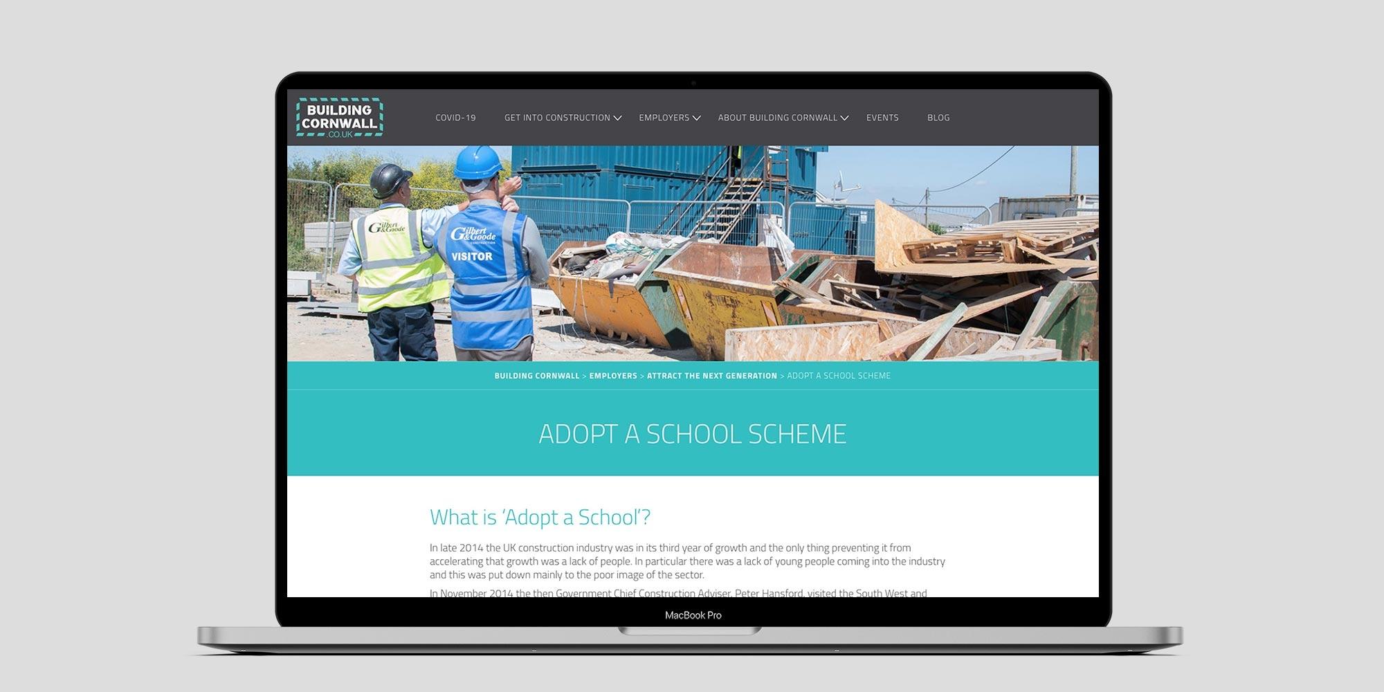Building Cornwall Wordpress Website Design on Laptop
